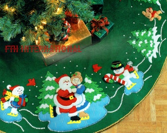skaters waltz 43 felt tree skirt kit 83420 santa mrs claus diy