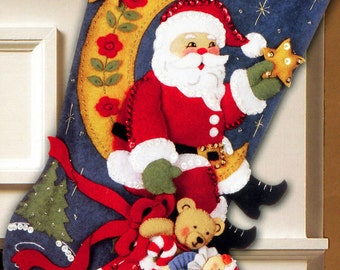 Bucilla Ho Ho Ho Santa 18 Felt Christmas Stocking Kit Etsy