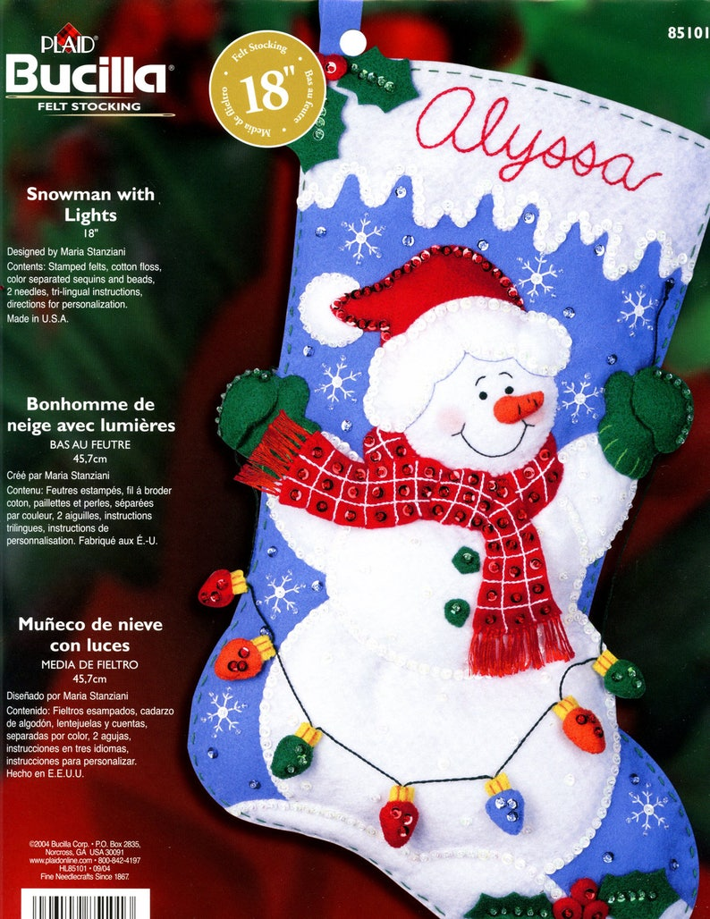 ~ Kit85101Frosty 18 Stocking Diy With Lights Snowman Felt Bucilla Christmas New DI9HeE2YWb