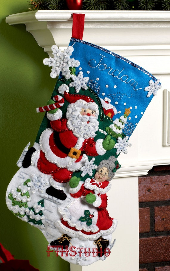 Bucilla Skating Clauses 18 Felt Christmas Stocking Kit Etsy