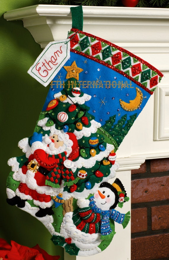 Bucilla Tree Shopping 18 Felt Christmas Stocking Kit Etsy