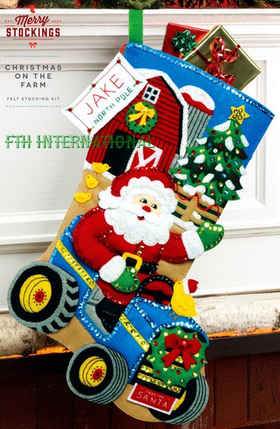 Christmas Stockings Kits.Bucilla Christmas On The Farm 18 Felt Stocking Kit By Merry Stockings Santa Diy