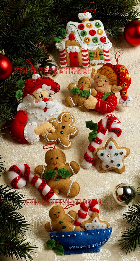 Bucilla Christmas Cookies Felt Ornament Kit 86148 6 Piece | Etsy