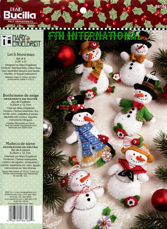 image 0 - Bucilla Let It Snowman 6 Piece Felt Christmas Ornament Kit Etsy