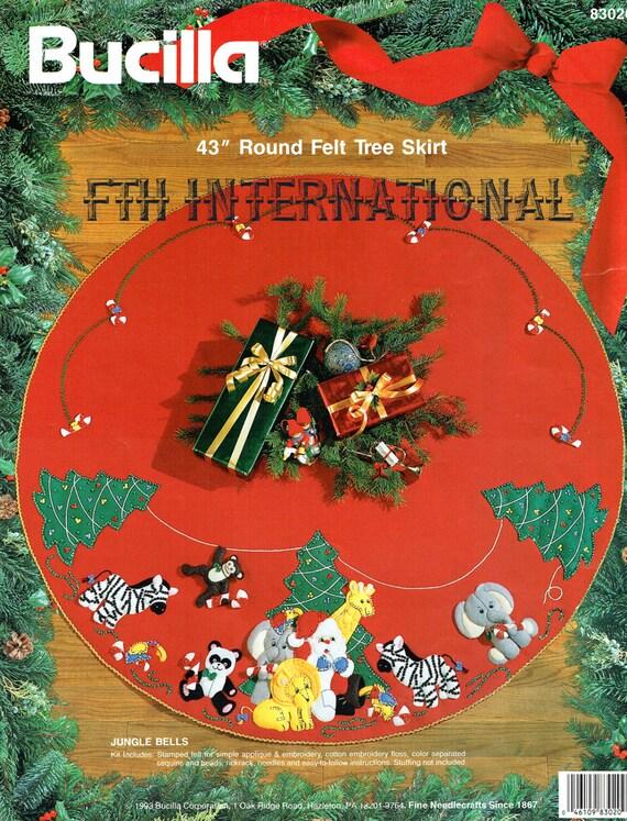 image 0 - Bucilla Jungle Bells 43 Felt Christmas Tree Skirt Kit Etsy