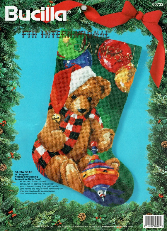 Needlepoint Christmas Stocking Kit.Bucilla Santa Bear 18 Needlepoint Christmas Stocking Kit 60722 Nancy Rossi