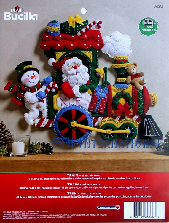 Bucilla CANDY EXPRESS TRAIN Felt Christmas Wall Hanging Kit-Santa Snowman OOP