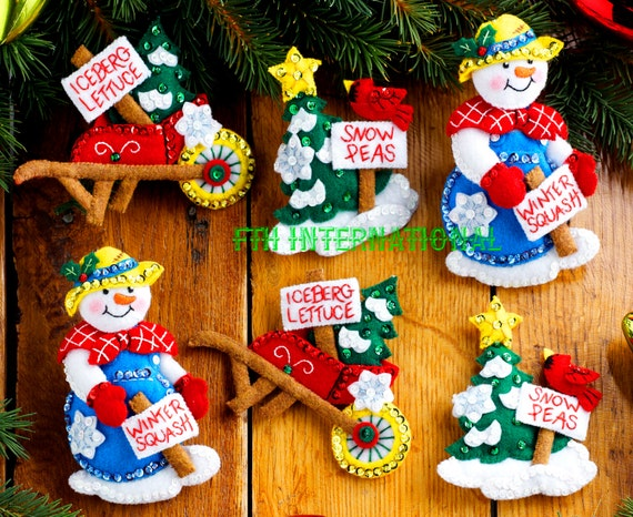 Janlynn Felt Applique Frostys Ornament Collection Christmas Ornament Set of 6