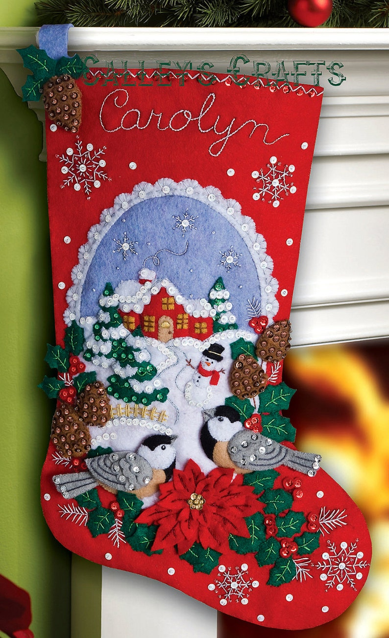 Christmas Stocking Kit.Bucilla Chickadees 18 Christmas Stocking Kit 86326 Diy