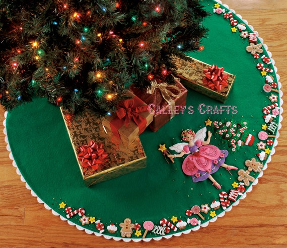 image 0 - Bucilla Sugar Plum Fairy 43 Felt Christmas Tree Skirt Etsy