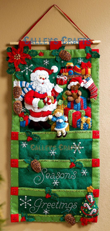 Bucilla Santas Greeting Card Holder Christmas Felt Wall Etsy