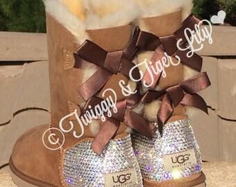Bling Ugg Boots - Swarovski Crystal Embellished Chestnut Bailey Bow Uggs with Swarovski Diamond Clear Crystals