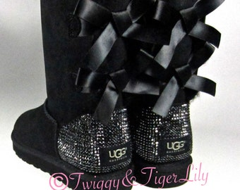 Black UGG boots with Swarovski Crystal Bling - rhinestone Bailey Bow Uggs in Jet Hematite Crystals