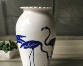 Vintage Anchor Hocking Blue Flamingo Vase