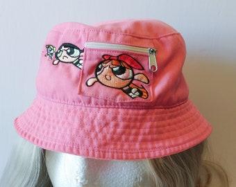 81926fda248 Kids Pink Powerpuff Girls Bucket Hat with Embroidery Cartoon Network  Nostalgic Cartoons