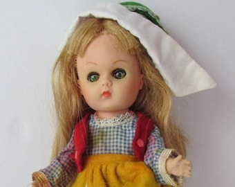 Ginny Vogue Doll Inc. Costume Dolls of The World Folk Doll European 1970s TLC Poor Condition - 8 Inches