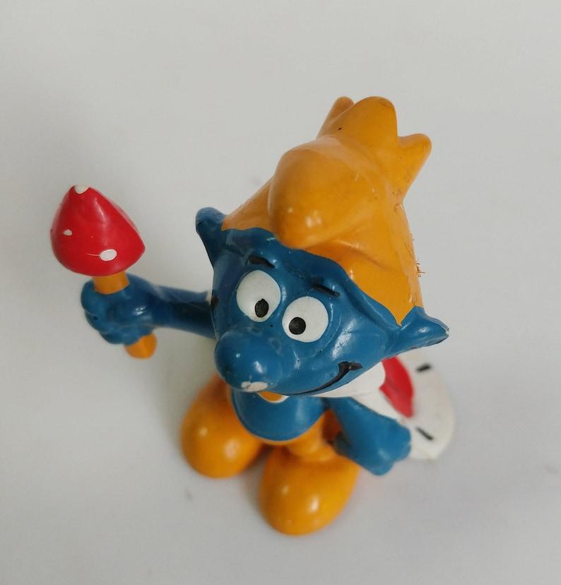 Vintage King Smurf PVC Vinyl Toy Mini Figure 1970s Germany Bully 2 Inches