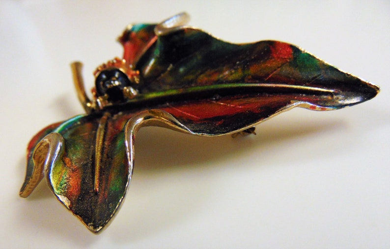 ART lady bug on leaf brooch