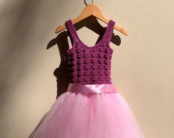 Flower girl dress, Birthday dress, Occasion dress, Crochet dress, Tutu, Pink dress, Girls Medium