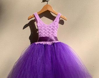 Flower girl dress, Birthday dress, Occasion dress, Crochet dress, Tutu, Purple dress, Girls Small