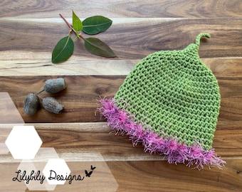 Gumnut Baby Flower Fairy Beanie Hat Newborn to 24 months Snugglepot Cuddlepie May Gibbs Australia green / pink