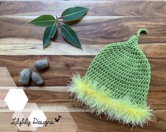 Gumnut Baby Flower Fairy Beanie Hat Newborn to 24 months Snugglepot Cuddlepie May Gibbs Australia green / yellow