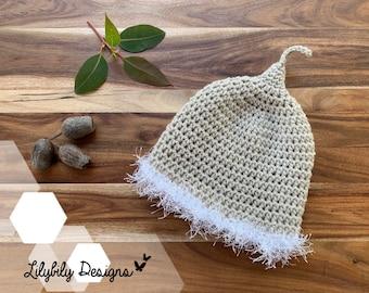 Gumnut Baby Flower Fairy Beanie Hat Newborn to 3 years Snugglepot Cuddlepie May Gibbs Australia cream / white