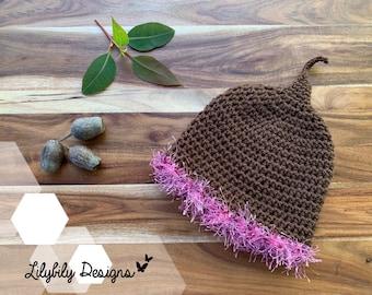 Gumnut Baby Flower Fairy Beanie Hat Newborn to 24 months Snugglepot Cuddlepie May Gibbs Australia brown / pink