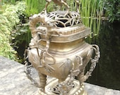 Chinese Vietnamese Temple Incense Burner censer in Brass or Bronze Bamboo