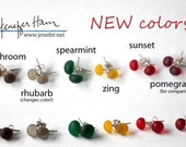 6 NEW colors of SEAPEARLS! Lovely glass stud post earrings with sterling silver by Jenefer Ham