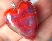 Pearlescent orange heart! Beautiful glass necklace made Jenefer Ham
