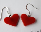 RED Tinted heart jewelry!  glass earrings made by Jenefer Ham