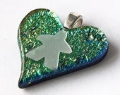 DICHRO MEEPLE gradient heart! Meeple necklace by Jenefer Ham Pawns Board Game Fused Glass