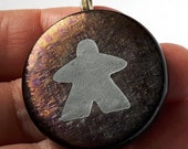 IRIDIZED MEEPLE! Meeple necklace by Jenefer Ham Pawns Board Game Fused Glass
