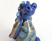 Indigo DRAGON! Custom Glass Sculpture Player Marker Figurine Miniature by Jenefer Ham Pawn Board Game