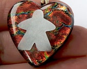 DICHRO HEART MEEPLE! Meeple necklace by Jenefer Ham Pawns Board Game Fused Glass