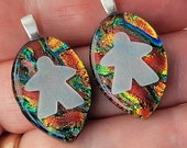 DICHRO MEEPLE! Meeple necklace by Jenefer Ham Pawns Board Game Fused Glass