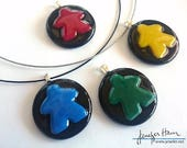 MEEPLE large! super cute meeple glass necklace made by Jenefer Ham