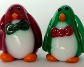 Festive holiday PENGUINs -- set of 2 Sculpture/ Miniature/ Player Marker by Jenefer Ham Board Game Glass