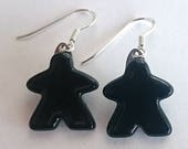 Choose your color: MEEPLE earrings! super cute meeple glass earrings made by Jenefer Ham