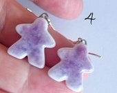 Choose your favorite: 5 Tinted MEEPLE earrings! super cute meeple glass earrings made by Jenefer Ham