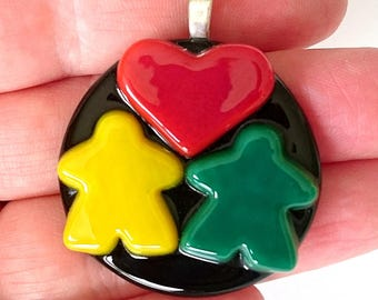 Choose your colors: MEEPLE duo with heart! Custom made, super cute meeple glass necklace made by Jenefer Ham
