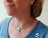 MOOples! super cute cow meeple glass earrings pin cufflinks and necklace made by Jenefer Ham