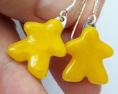 Choose your color: solid MEEPLE earrings! super cute meeple glass earrings made by Jenefer Ham