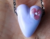 Lavender flower fall heart! Beautiful glass necklace made Jenefer Ham