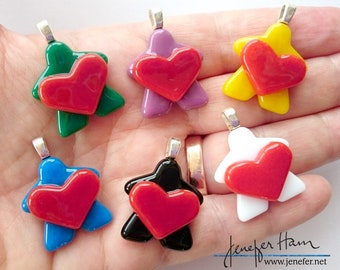 MEEPLE holding a heart! super cute meeple glass necklace made by Jenefer Ham