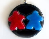 Choose your colors: MEEPLE partners! custom made, super cute meeple glass couples necklace made by Jenefer Ham