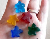 Beachey Meeples! Sandblasted cast glass Player Marker by Jenefer Ham Pawns Board Game Glass Sculpture