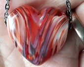 Red puffy heart! Beautiful glass necklace made Jenefer Ham