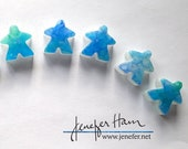 Mediterranean Meeples on white! Cast glass Player Marker by Jenefer Ham Pawns Board Game Glass Sculpture